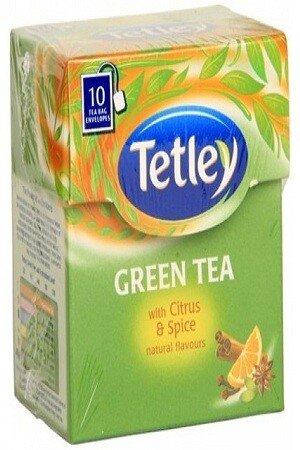 Tetley Green Tea Bags Citrus And Amp Spice 10 Pcs Carton