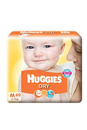 Huggies Diapers - Medium Size, New Dry, 60 pcs
