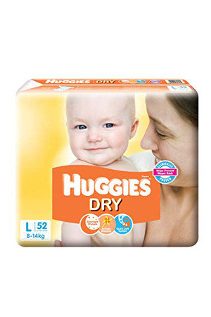 Huggies New Dry Diapers Large, 52 pcs