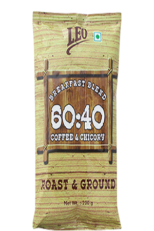 Leo Coffee And Amp Chicory Breakfast Blend Roast And Ground 200 Grams Pouch