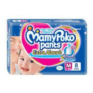 Mamy Poko Pants Style Diapers Medium 7-12 Kg, 8 pcs Pouch