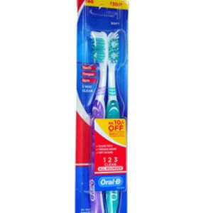 Oral B Tooth Brush All Rounder 123 Clean Medium 2 Pcs
