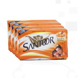 Santoor Bathing Soap Sandal And Turmeric 75 Grams Pouch Pack Of 4
